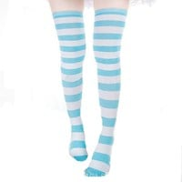 ZANZEA Sexy Lady Over The Knee Thigh High Long Striped Stocking Black thick