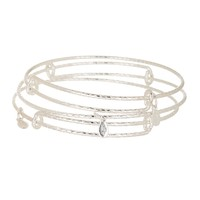 Thick Textured Expandable Wire Bangle Set