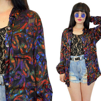 vintage 90s silk shirt ornate paisley vivid sheer cutout top blouse grunge secretary shirt tie dye small