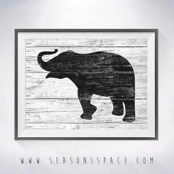 Elephant art illustration print, Elephant painting, Wall art,Rustic Wood art, Animal print, Home Decor, Elephant silhouette,Kitchen decor