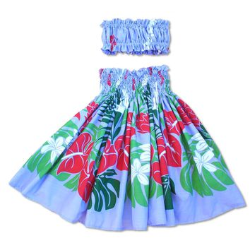 Sweetie Purple Girl's Pau Hawaiian Hula Skirt Set