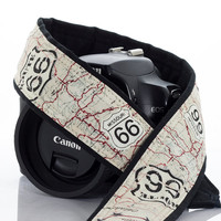 Route 66 Camera Strap, dSLR, US 66, Men's Camera strap, Canon Camera Strap, Nikon Camera Strap, Pocket, SLR, Vintage map, 158 w