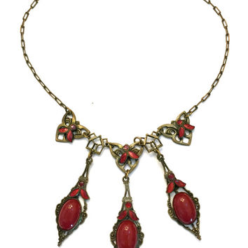 Art Nouveau Glass Necklace, Red Marsala Czech Glass, Dot and Leaf Enamel Accents, Brass Tone Paper Clip Chain