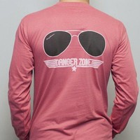 Danger Zone Long Sleeve Tee in Weathered Red by Rowdy Gentleman