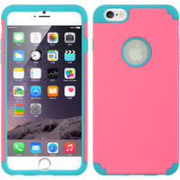 DW Hybrid Dual Armor iPhone 6 Plus Case - Hot Pink/Teal Blue