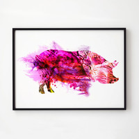 Pig decor Colorful art Farm print EM154