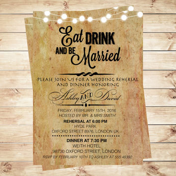 Personalized eat drink and be married wedding papyrus invitations, papyrus invitations, Papyrus Paper Wedding Invitation