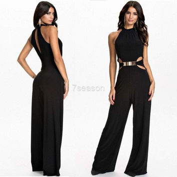Stylish Lady Women's Fashion Sexy Off-shoulder Sleeveless Long Jumpsuit Overall 7_S = 1916594308