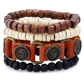Stylish New Arrival Gift Awesome Great Deal Shiny Hot Sale Alloy Vintage Set Leather Men Jewelry Bracelet [250988396573]