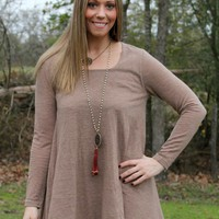 Ex's and Oh's Flare Tunic with Chiffon Layer in Mocha