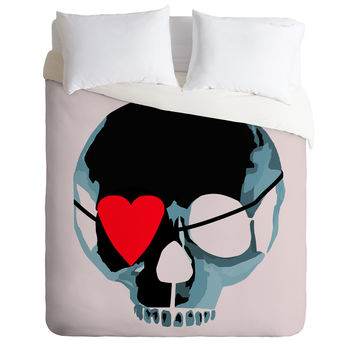 Amy Smith Blue Skull With Heart Eyepatch Duvet Cover