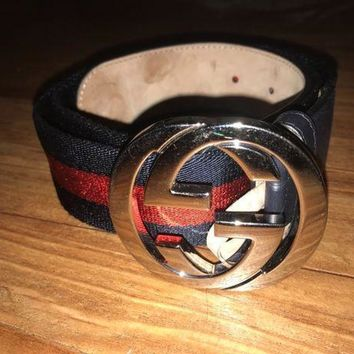 DCCK4 Authentic Mens Gucci Web belt with G buckle Belt Blue and Red Size 90/36