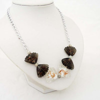 Shell Simple Necklace, White and Brown Glass Necklace, Summer Necklace, Handmade Necklace, UK Seller