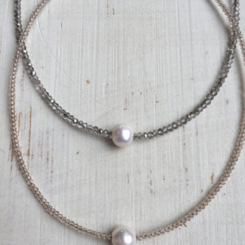 White Freshwater Pearl Beaded Choker. Gray Faceted Crystal and Champagne Beads.