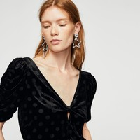 Polka-dot velvet blouse - Women | MANGO USA