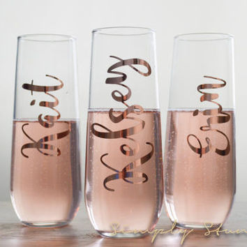 Rose Gold Personalized Champagne flute, Bridesmaid gift, Matron of honor, wedding party, Bridal Party, Bridesmaid, Wedding, celebrate