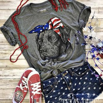 Patriotic Bandana Flag Dog Graphic Tee (S-2XL)