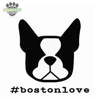 Boston Terrier dog decal - #bostonlove - car vinyl sticker - you choose shape - Smooshface United: flat face breed bias love