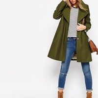 ASOS Trapeze Coat with Oversized Collar at asos.com