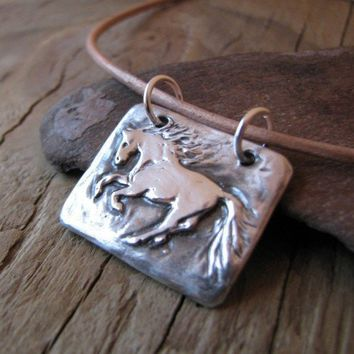 Handmade Fine Silver Galloping Horse Pendant with Sterling Rings | SilverWishes - Jewelry on ArtFire