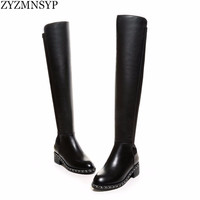 ZYZMNSYP Sexy Stretch soft genuine leather women Riding knee thigh high boots autumn winter woman chains black shoes ladies boot
