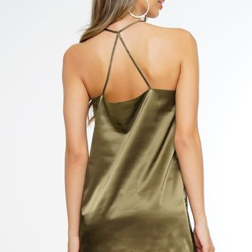 Hayden Satin Dress - Olive