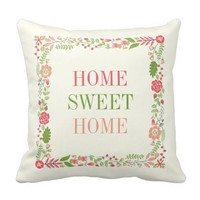 """""""HOME SWEET HOME"""" spring floral border coral peach Pillow"""