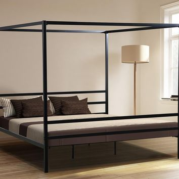"New Century® Black Iron 72"" High Heavy Duty Canopy Metal Platform Bed"
