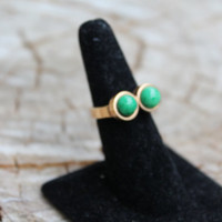Vintage Mod Gold Ring with Two Balls of Jade