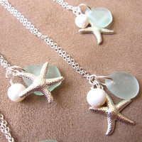 Bridesmaids jewelry for beach wedding - Seafoam beachglass starfish necklace with swarovski pearl - FREE SHIPPING