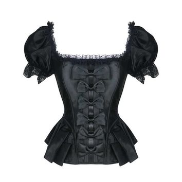 Steampunk Overbust Corset Tops Women Short Sleeve Bustier Gothic Lace Waist Trainer Slimming Corsets and Bustiers