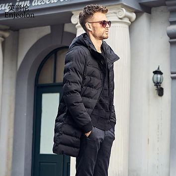 Enjeolon Brand winter Cotton Padded long Jacket oat Men Windproof hooded Parka black Thick Quilted plus size 3XL Coat Men MF0296