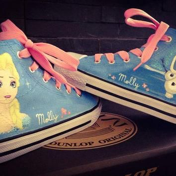 Disney Frozen - Elsa & Olaf (Adult Size) Original Converse Custom Made Shoes