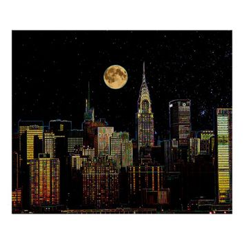 New York Skyline At Night With Full Moon Poster
