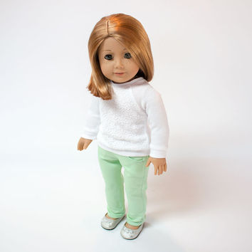 "Hand dyed mint green skinny jeans for American Girl and other 18"" dolls"