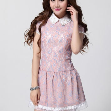 Floral Lace Beaded Pointed Flat Collar Drop Waist Mini Dress