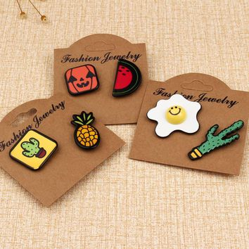 1set Cartoon Cute Cactus Pineapple Egg Hallowmas Pumpkin Pins And Brooch For Women Girls Kids Badge Fruits Brooch Pin Jewelry
