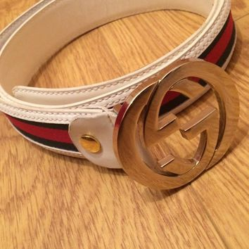 GENUINE gucci belt white 38