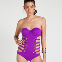 2017 Trending Fashion Women Hollow Bandage Sexy Solid Erotic Bikini Swim Suit Beach Bathing Suits Swimwear _ 13171