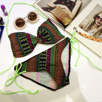 SPECIAL DISCOUNT 10 DAYS New vintage bikini color tribal lime color top and bottoms fashion on summer women set