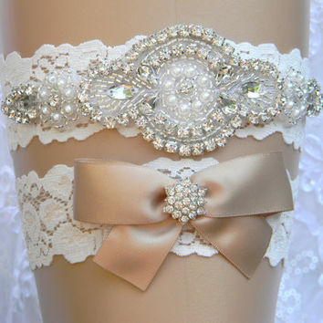 Wedding Garter Set Lace Flower Bridal Garter Pearl and Rhinestone Garter and Toss Garter Set Wedding Accessories