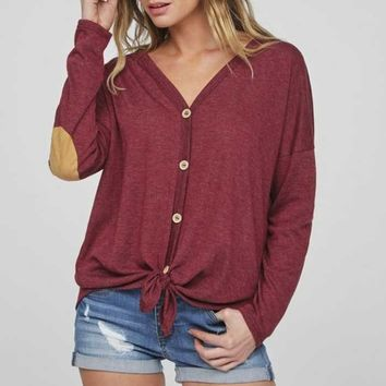 Button Up Elbow Patch Top, Two Colors