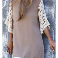 Apricot Cotton Shift 3/4 Sleeve Plain Short Dress