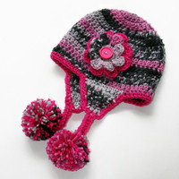 Baby Girl hat Camo gray, black and hot pink earflap with flower accent. 3-6 months