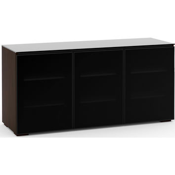 Oslo 65 Inch TV Stand Cabinet Extra Tall Wenge Black Glass
