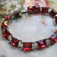 Vintage Deco Ruby Crystal Sterling Bracelet