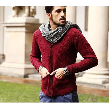 Men's 70% Wool Men Sweaters Winter Autumn Cardigan Men New Fashion Casual Slim Pockets Red Sweater Plus Size