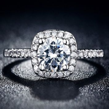 stunning platinum plated  CZ ring