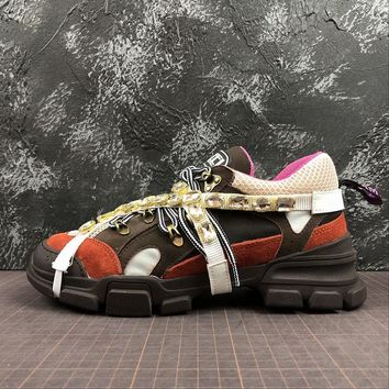 Gucci Flashtrek Leather Sneaker With Crystals - Best Online Sale