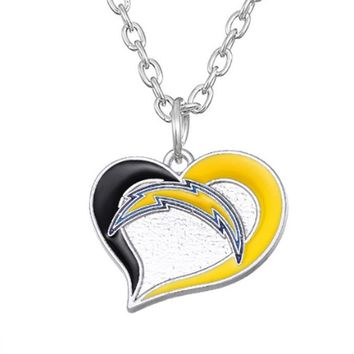 2 Styles Enamel Football Team Logo San Diego Chargers Pendant Necklace Sport Charm Stainless Steel Chain
